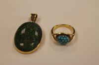 An 18ct gold mounted opal pendant, together with a turquoise ring stamped 18. (2)