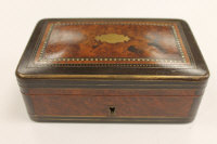 A Victorian inlaid burr walnut and brass bound table box, width 14 cm.