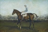 Follower of Sir Alfred J. Munnings : A racehorse with mounted jockey, oil on board, 22 cm x 33 cm, framed.