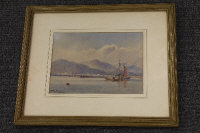 Thomas Bush Hardy : Fishing boats in calm waters with mountain beyond, watercolour, signed, 18 cm x 25 cm, framed.