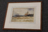 Thomas Bush Hardy : Fishing boats in choppy waters off a pier, watercolour, signed, 19 cm x 29 cm, framed.