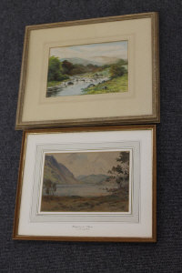 George Oyston : River landscape, watercolour, signed, dated 1917, 18 cm x 26 cm, together with another watercolour by G.C.W. Clark depicting a lake scene, both parts framed. (2)