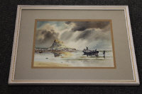 Ronald Lambert Moore : Holy Island, watercolour, signed, 27 cm x 36 cm, framed.