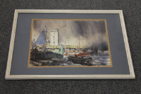 Ronald Lambert Moore : North Shields Fish Quay, watercolour, signed, 36 cm x 46 cm, framed.