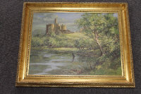 Ronald Lambert Moore : A fisherman by a river with castle beyond, oil on board, signed, 38 cm x 50 cm, framed.