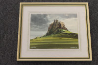 Thomas Manson : Holy Island, watercolour, dated '79, 25 cm x 33 cm, framed.
