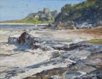 Thomas Manson : A lady on rocks with Bamburgh castle beyond, oil on board, signed, dated '78, 35 cm x 44 cm, framed.
