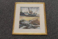 Thomas Manson : A Fishing boat at low tide, watercolour, signed, 28 cm x 20 cm, framed.