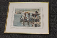 Thomas Manson : A fishing boat off a jetty, watercolour, signed, 19 cm x 25 cm, framed.