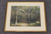 Robert Turnbull : Chopwell woods, colour chalks, signed, 29 cm x 39 cm, framed.