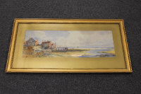 Thomas Sidney : Robin Hood Bay, watercolour, signed, 24 cm x 67 cm, together with two smaller watercolours by the same artist depicting The Needles and Beachy Head, all three parts framed. (3)