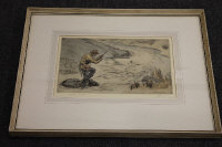 Henry Wilkinson : A fisherman on the river, drypoint etching in colours, signed in pencil, numbered 67/75, with margins, 22 cm x 34 cm, framed.