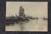 Thomas Swift Hutton : Fishing boats at Montrose, watercolour, signed, 18 cm x 26 cm, unframed.