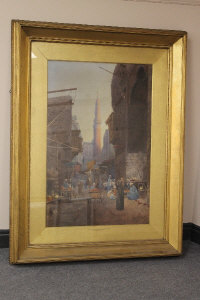 Holland Tringham : The Mosque of Sharia-El-Aybar, Cairo, watercolour, signed, dated '93, 98 cm x 65 cm, framed.