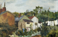 Kenneth Rowntree : Kent landscape, oil board, signed with initials, with Hatton Gallery label verso, 23 cm x 34 cm, framed.