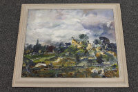 Anton Sulek :  An open river landscape, oil on board, signed verso and dated 1971, 45 cm x 53 cm, framed.