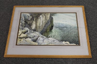Brian Nolan : Down the creek, Benllech, Anglesey, watercolour, signed, 38 cm x 58 cm, framed.