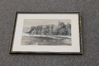 Thomas Manson : Tynemouth Priory, watercolour with body colour, signed, 20 cm x 30 cm, framed.