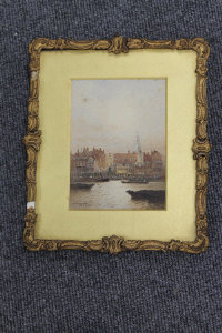 Fred E.J.Goff : Broadway Wharf, watercolour with body colour, signed, 15 cm x 11 cm, framed.