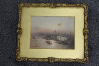 Fred E.J.Goff : Thames from Tower Bridge, watercolour with body colour, signed, 11 cm x 15 cm, framed.