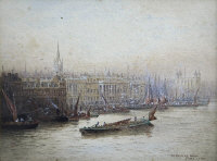 Fred E.J.Goff : Off Customs House, watercolour with body colour, signed, 11 cm x 15 cm, framed.