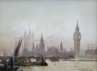 Fred E.J.Goff : Westminster, watercolour with body colour, signed, 11 cm x 15 cm, framed.