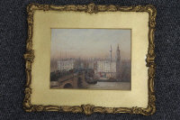 Fred E.J.Goff : London Bridge, watercolour with body colour, signed, 12 cm x 15 cm, framed.