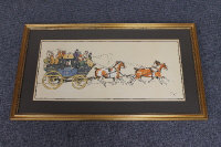 After Cecil Aldin : The Perth to Aberdeen Coach, chromolithograph, 30 cm x 66 cm, framed.