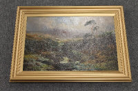 Attributed to John Falconar Slater : A stream running through a mountainous landscape, oil on canvas 35 cm x 52 cm, framed.
