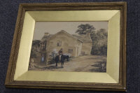 Paul Sandby : A Gentleman on a black horse outside a dwelling, watercolour, signed, 22 cm x 29 cm, framed.