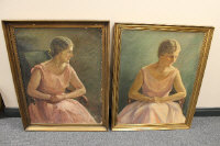 Twentieth century Danish school : Portrait of a lady wearing a pink dress, oil on canvas, signed with the initials G.S, dated 1926, 86 cm x 64 cm, together with another portrait by the same artist, both parts  framed. (2)