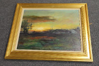 Twentieth century Danish school : Sunset over an open landscape, oil on canvas, indistinctly signed, dated, '77, 45 cm x 55 cm, framed.