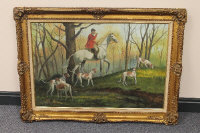 Twentieth century English school : A mounted huntsman with hounds, oil on canvas, indistinctly signed, 90 cm x 60 cm, framed.