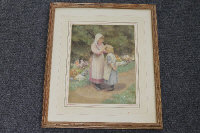 Early twentieth century school : Two girls in a garden, watercolour, signed with the initials C.W., 29 cm x 22 cm, framed.
