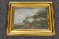 Early twentieth century Dutch school : A young boy herding sheep with windmill beyond, oil on panel, indistinctly signed, 22 cm x 32 cm, framed.