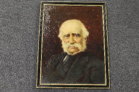 Late nineteenth century continental school : Portrait of a Gentleman with moustache, oil on canvas, indistinctly signed, 40 cm x 30 cm, framed.