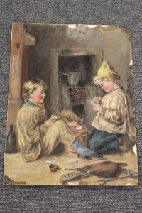 Attributed to Ralph Hedley : Two young boys playing cards, colour chalks on paper, 51 cm x 38 cm, unframed.