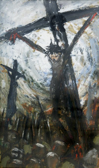 Norman Cornish : Crucifixion, oil on paper, signed, 58 cm x 35 cm, framed. Provenance: The Stone Gallery, label verso.