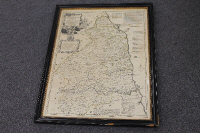 Robert Sayer : A map of Northumberland, steel engraving, with some hand colouring, 71 cm x 53 cm, framed.