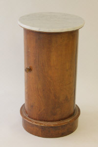 A Victorian marble topped cylindrical pot cupboard, height 72.5 cm.