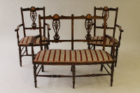 An Edwardian inlaid seven piece drawing room suite. (7)