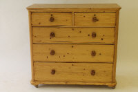 An early twentieth century pine five drawer chest, width 114 cm.
