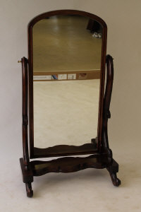 A Victorian style mahogany cheval mirror, width 86.5 cm.