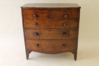 A Victorian mahogany bow-fronted five drawer chest, width 100 cm.