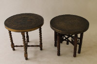Two late Victorian brass topped occasional tables. (2)