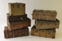 Seven early twentieth century shipping trunks. (7)