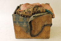 A nineteenth century pine box containing Victorian chenille and other linen, velvet curtains etc. (Q)