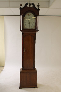 A nineteenth century oak longcased clock by Scurr, Thirsk, height 223 cm.