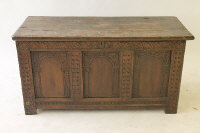 A nineteenth century carved oak blanket chest, width 121 cm.