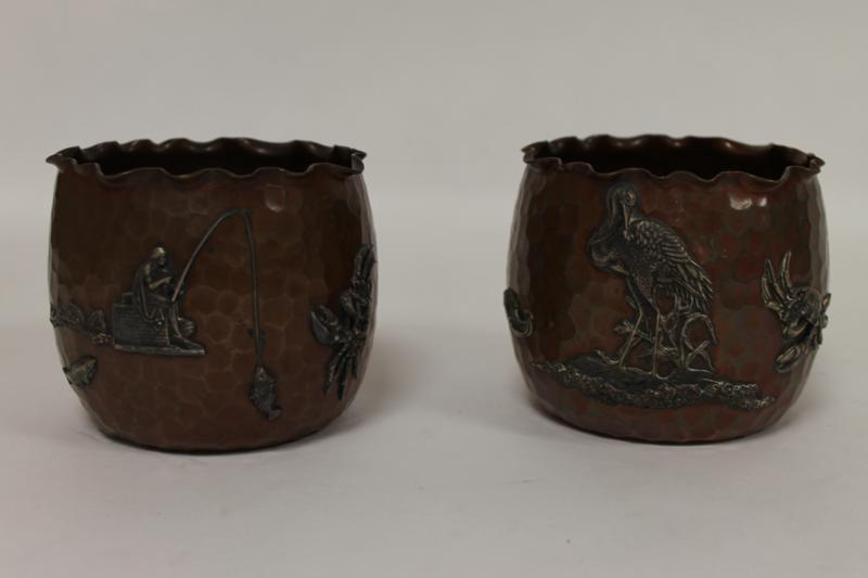 A Good Pair of Japanese Bronze and Onlaid Silver Jardinieres